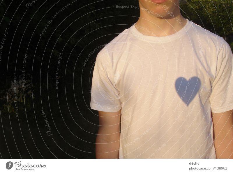 Man White Love Heart Clothing T-shirt Like