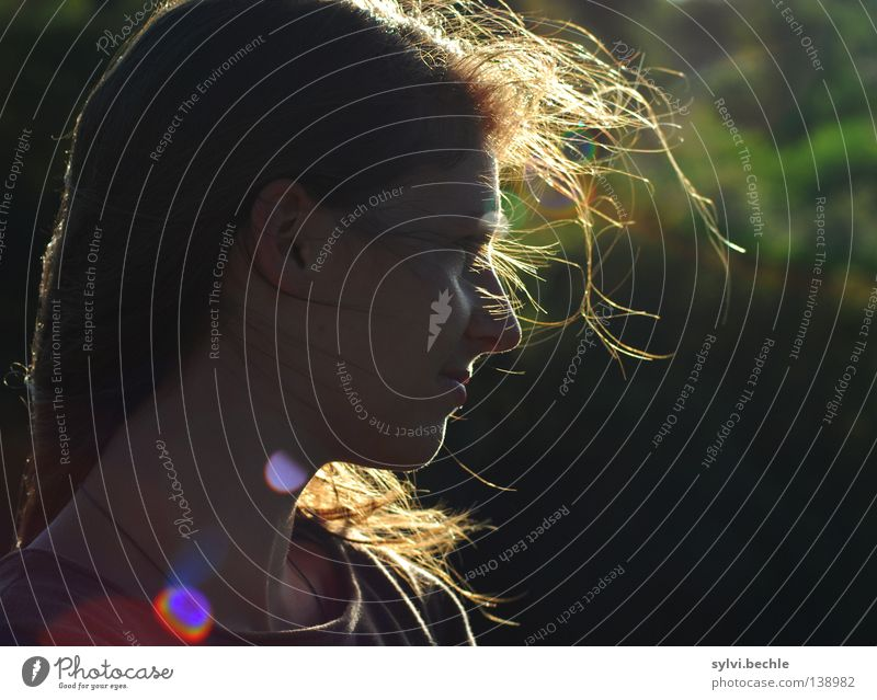 Woman Green Beautiful Calm Far-off places Adults Sadness Emotions Think Time Hair and hairstyles Flying Dream Room Air Wind