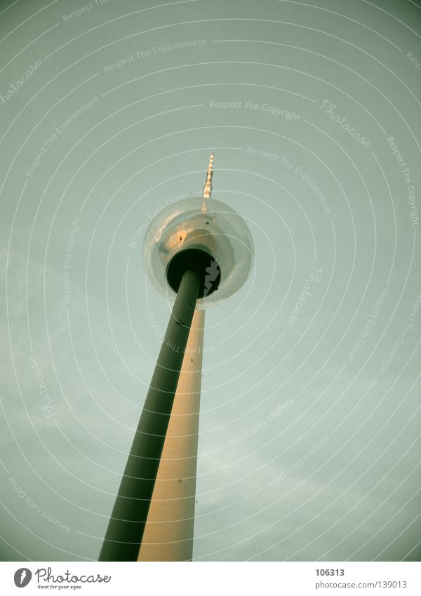 READY FOR SPACE Berlin TV Tower Landmark East Large Might Concrete Radio waves Antenna Monument Smear Tall Manmade structures Downtown Berlin Block Rotate Lamp