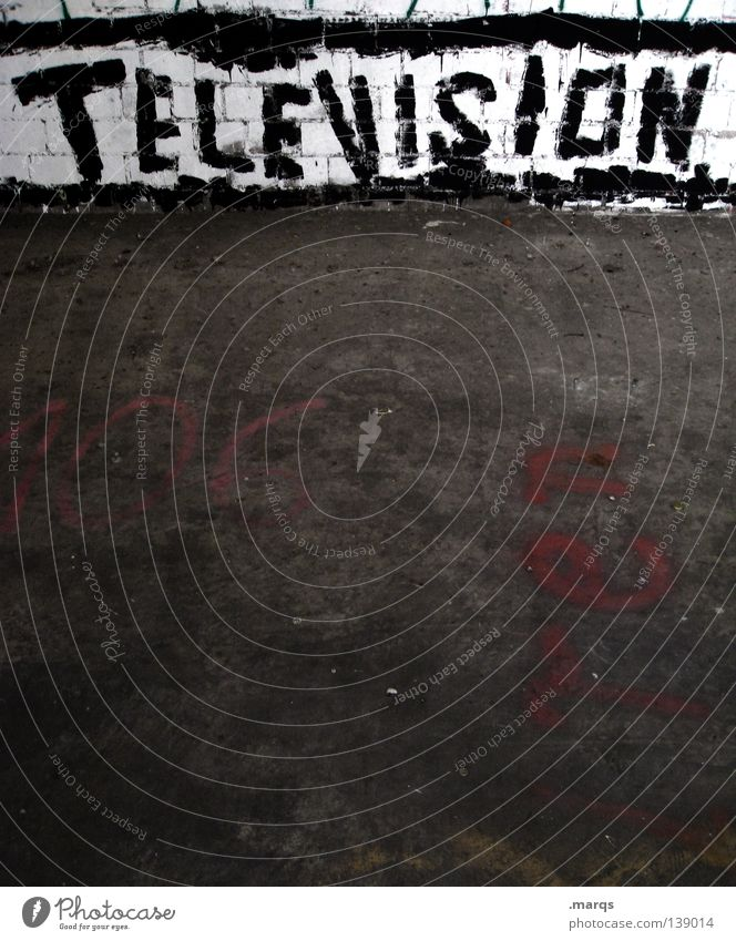 Television Rules the Nation Spray Sprayed Smeared Painted Typography Window Roller shutter Letters (alphabet) Word Wall (building) Street art Characters