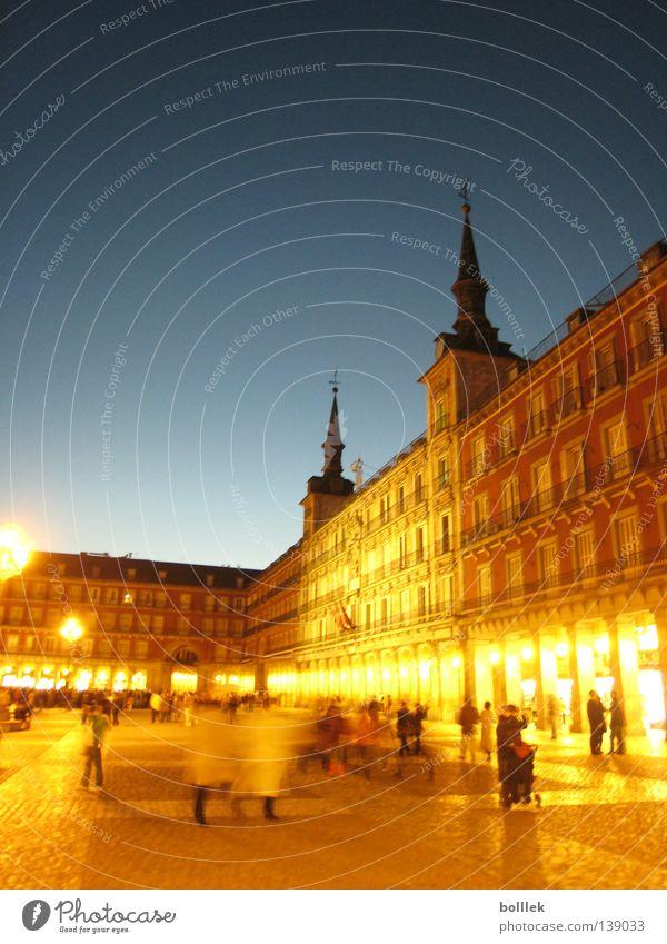 Human being City Lantern Traffic infrastructure Night shot Spain Madrid Plaza Mayor
