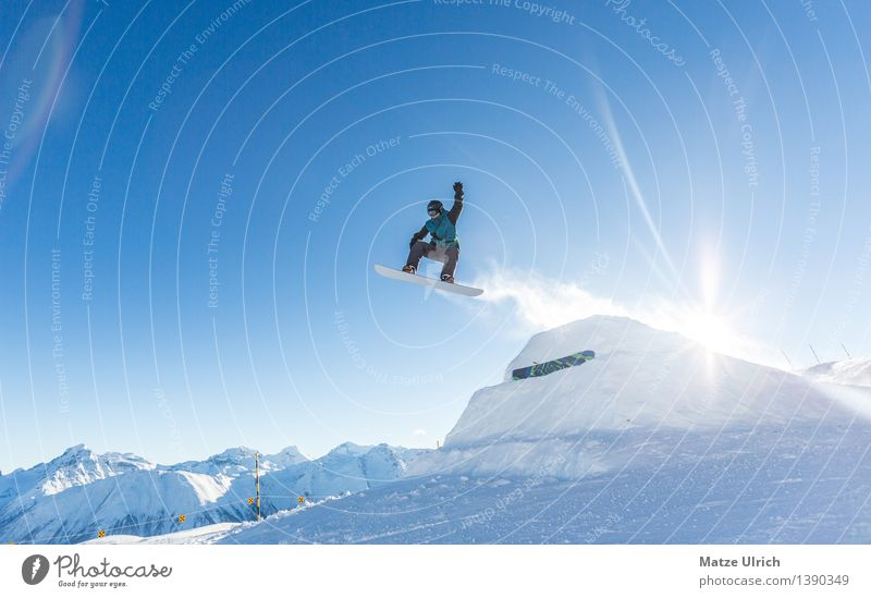 Up up and away! Sports Winter sports Snowboard Ski run Masculine 1 Human being Landscape Sun Sunlight Beautiful weather Ice Frost Alps Mountain Peak