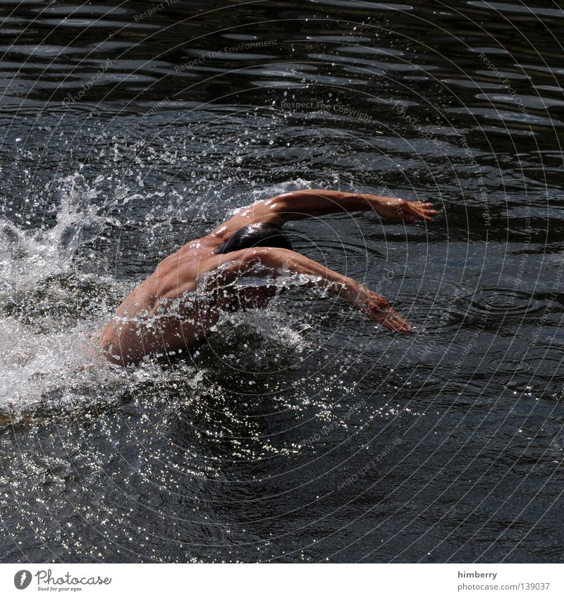 Human being Man Hand Youth (Young adults) Water Sports Playing Lake Healthy Arm Going Drops of water Back Technology Dive
