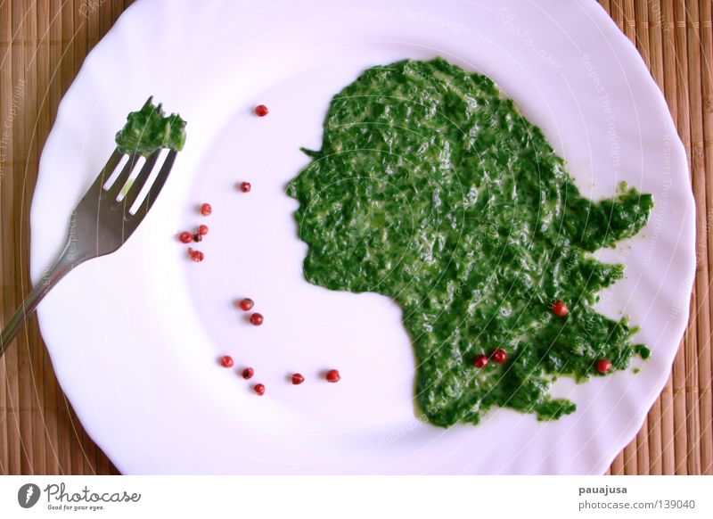 Beautiful Green Red Face Nutrition Cutlery Healthy Food Meal Herbs and spices Vegetable Dish Appetite To enjoy Plate Silhouette