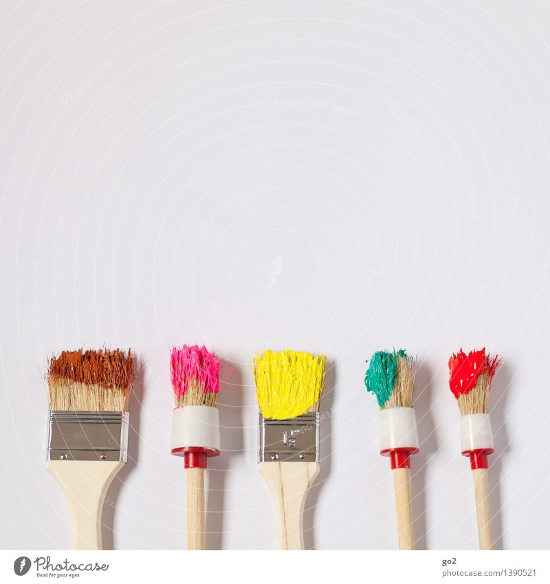 Colourful instead of brown Leisure and hobbies Redecorate Work and employment Craftsperson Painter Art Artist Paintbrush Brush handle Colour palette