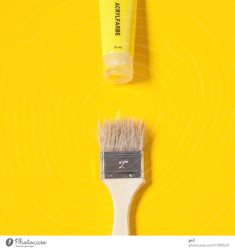 lemon yellow Leisure and hobbies Redecorate Work and employment Painter Art Artist Tube Dye Paintbrush Brush handle Acrylic paint Painting (action, work)