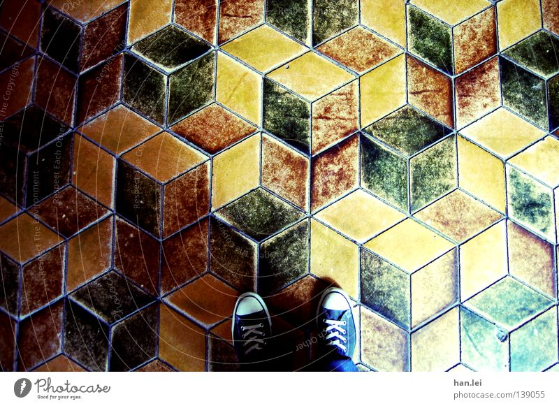 Feet Footwear Perspective Floor covering Stand Under Tile Pants Seam Chucks Flow Cube Old fashioned Three-dimensional Shoelace