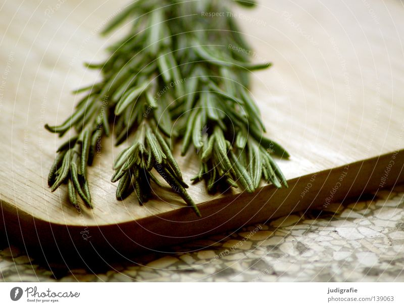 rosemary Rosemary Herbs and spices Labiate Kitchen Wooden board Chopping board Nutrition Food Medicinal plant Colour Vegetarian diet aromatic herb Twig