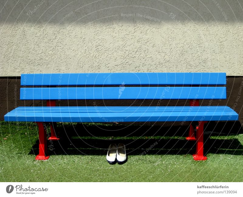 Green Blue Summer Loneliness Footwear Lawn Bench Resting place Artificial lawn