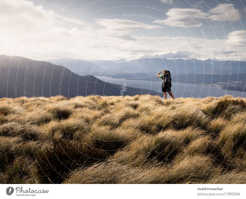 Hiking with a view Fitness Life Leisure and hobbies Vacation & Travel Tourism Trip Camping Summer vacation Mountain Feminine Young woman Youth (Young adults)