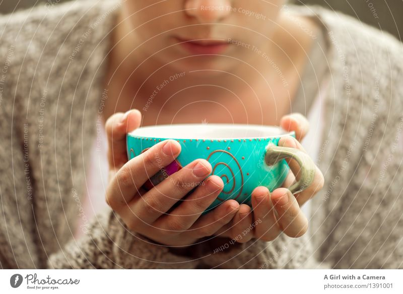 I <3 coffee cups Food Drinking Hot drink Coffee Tea Cup Mug Human being Feminine Hand Friendliness Turquoise Cozy To enjoy Stop Heat Break Subdued colour