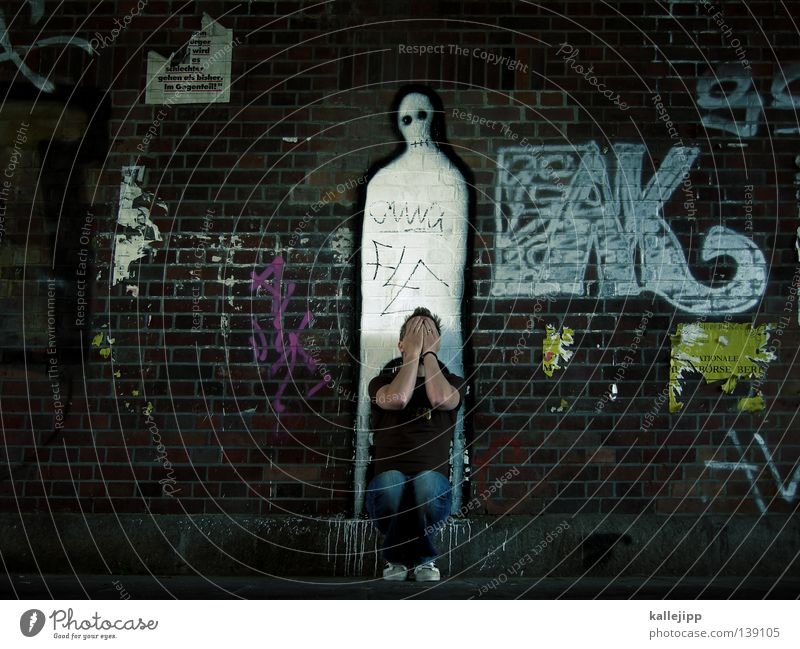 Human being Sky Man White Hand Calm Face Graffiti Wall (building) Life Death Religion and faith Illustration Symbols and metaphors Grief Concepts &  Topics