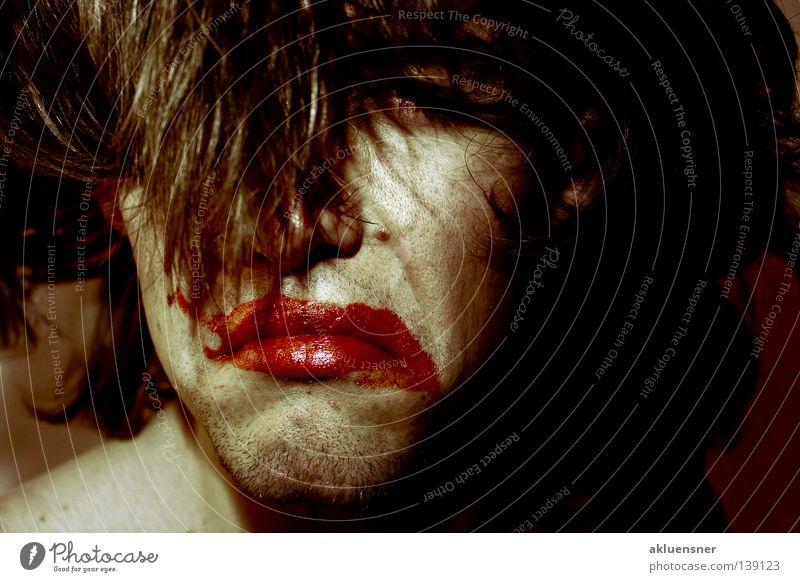 Man Red Face Hair and hairstyles Sadness Grief Distress Clown Lipstick Daub Wearing makeup