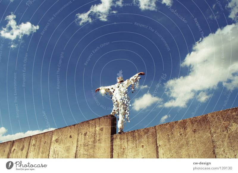 Human being Sky Man Blue Hand White Summer Joy Wall (building) Gray Jump Wall (barrier) Party Style Funny Art