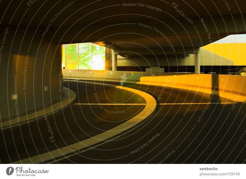 multi-storey car park Parking garage Traffic lane Lane markings Spiral Curve Median strip Environmental pollution Society Traffic infrastructure Berlin
