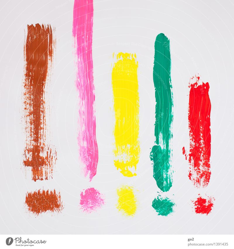 !!!!! Leisure and hobbies Redecorate Painter Art Exclamation mark Dye Sign Characters Painting (action, work) Esthetic Happiness Uniqueness Brown Multicoloured