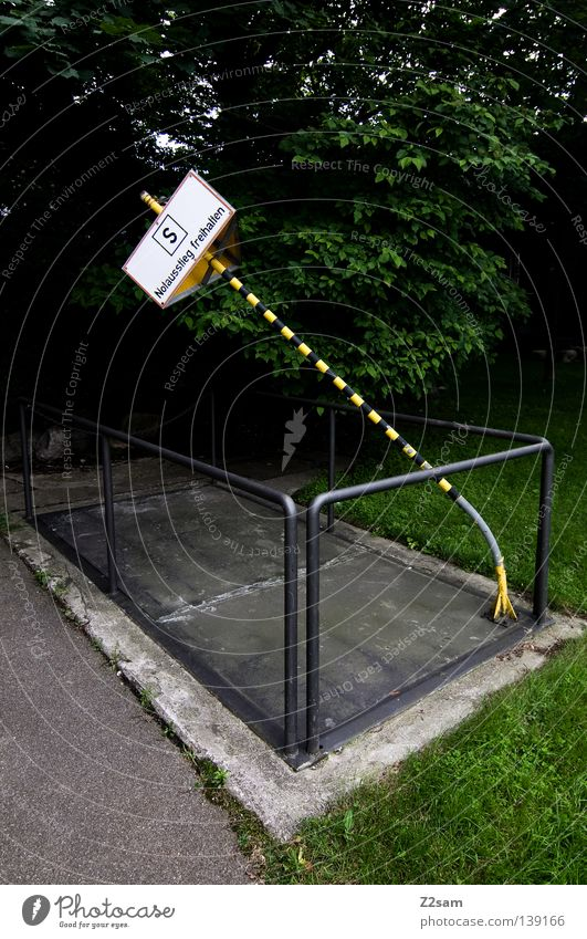 slanting position Stand Transport Yellow Shaft Closed Barrier Meadow Green Force Street sign Signage Signs and labeling Respect street Handrail Nature Contrast