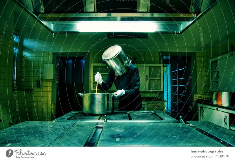Human being Man Nutrition Head Funny Interior design Room Crazy Cooking & Baking Kitchen Film industry Gastronomy Science & Research Whimsical Restaurant Meal