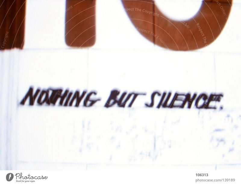 nothing but silence. Calm Signs and labeling Red White Graphic RGB Project Characters Typography Wall (building) Bright Background picture Typesetting machine