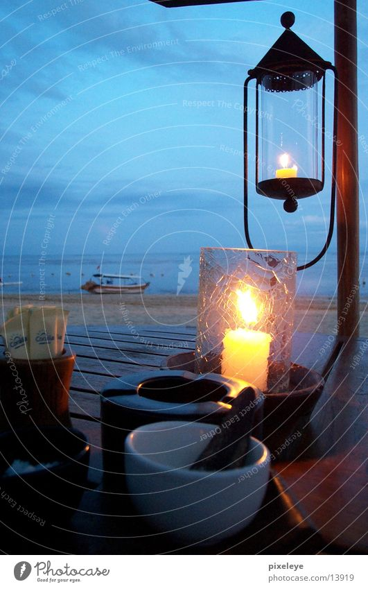 Still life in Bali 2 Beach Table Lamp Ocean Candle Los Angeles Sky Glass Water Dusk