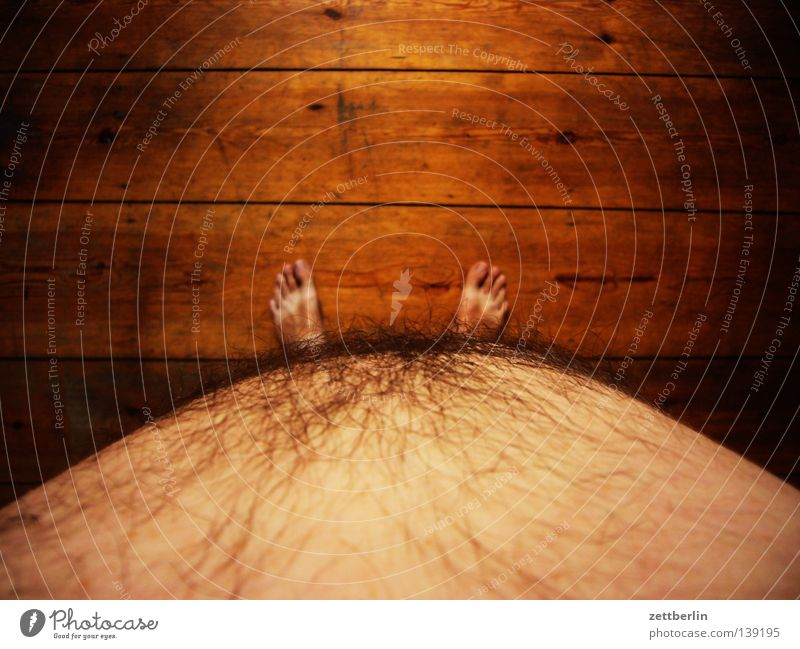 Human being Man Summer Nutrition Naked Wood Feet Floor covering Overweight Fat Stomach Weight Diet Toes Barefoot