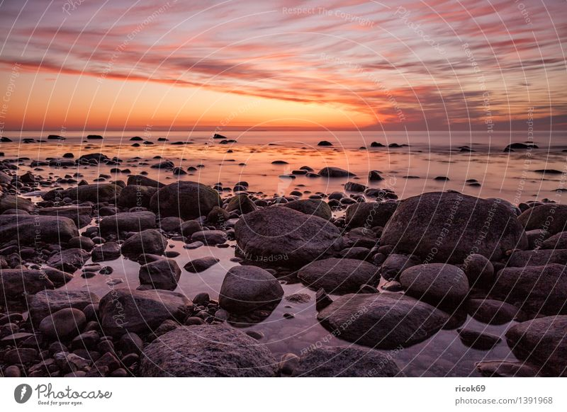 Sunset at the Baltic Sea coast Relaxation Vacation & Travel Island Nature Landscape Rock Coast Ocean Stone Blue Romance Idyll Calm Tourism Baltic coast