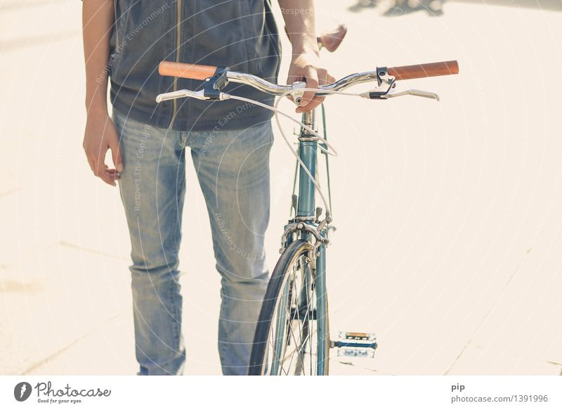 cut out with a pastry wheel Human being Young man Youth (Young adults) Arm Hand Legs 1 Bicycle speedbike Racing cycle Cool (slang) Mobility Cycling Retro