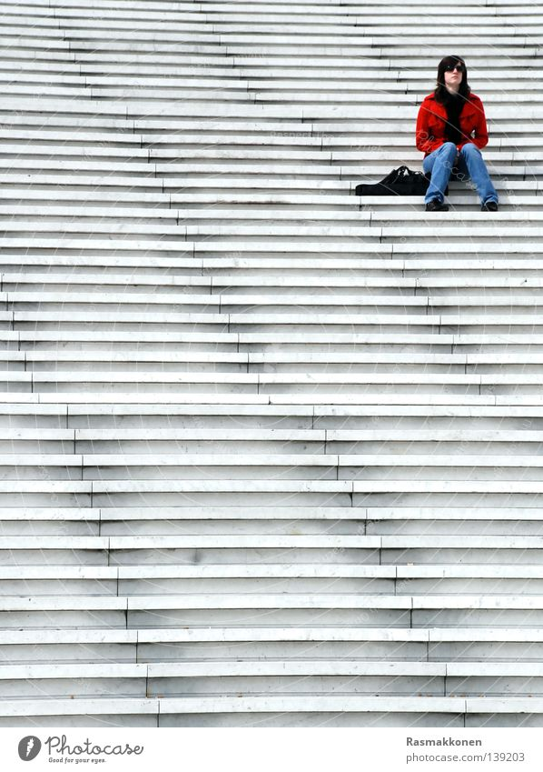 sitting, waiting, wishing... Paris Woman Boredom Stairs La Défense Sit Wait red jacket