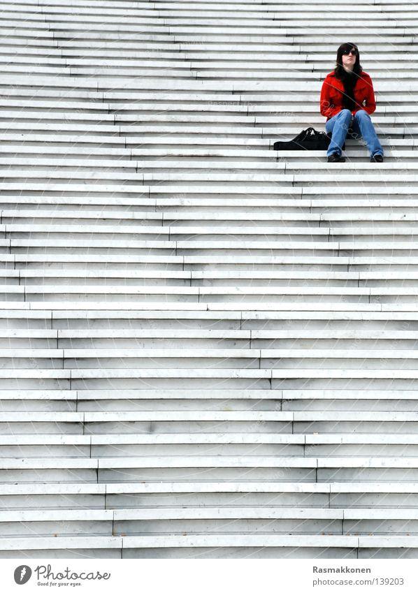 Woman Wait Sit Stairs Paris Boredom France La Défense