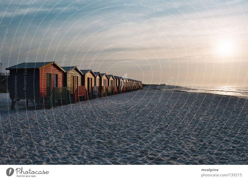 Bath cabins #2 Cape Town Ocean Beach Sunrise Sunset South Africa Red Green Yellow Coast bathing boxes bathboxes Colour colours beach huts Blue