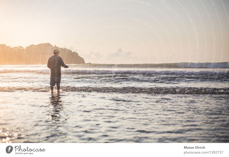 Human being Man Summer Water Sun Ocean Beach Adults Warmth Coast Work and employment Masculine Waves Beautiful weather Agriculture Fish
