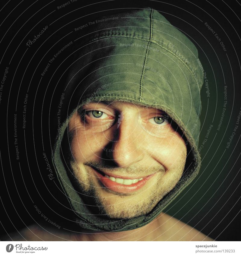 Portrait with cap Portrait photograph Man Cap Headwear Friendliness Humor Funny Joy Face Grinning Laughter