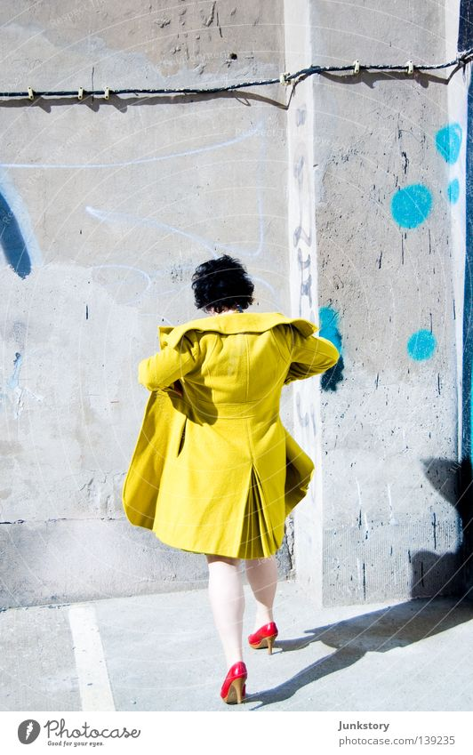 OFF THE WALL Coat High heels Woman Going Wall (building) Wall (barrier) Concrete Red Black Yellow Green Neon light Style Self-confident Turnaround Clothing