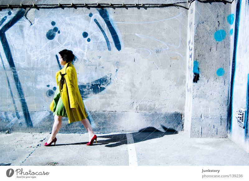 WALK ON... Coat High heels Woman Going Wall (building) Wall (barrier) Concrete Red Black Yellow Green Neon light Style Self-confident Turnaround Clothing