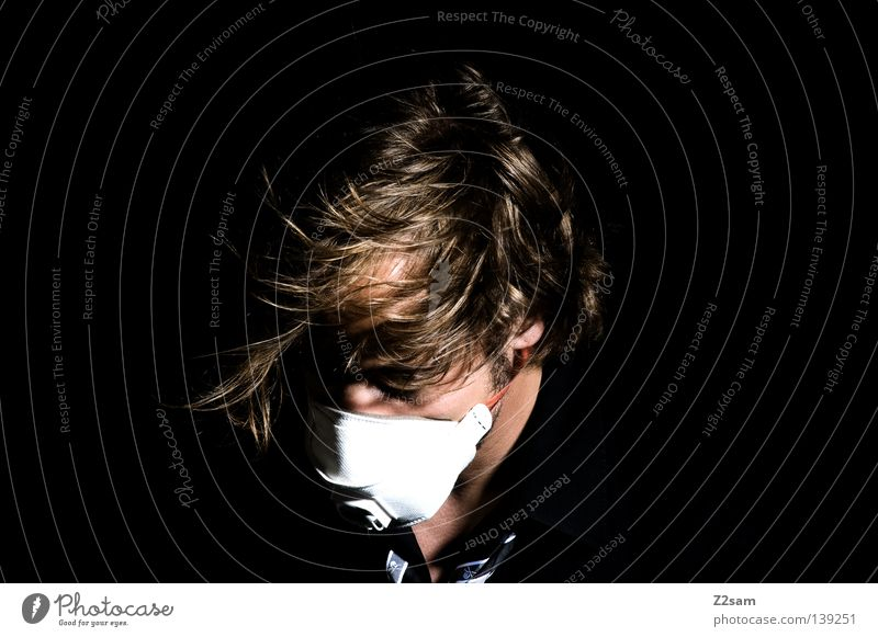 air Air Gale Breath Respirator mask Style Tie Black Blonde Man Masculine Portrait photograph Human being Light Glittering Chaos Wind storm Hair and hairstyles