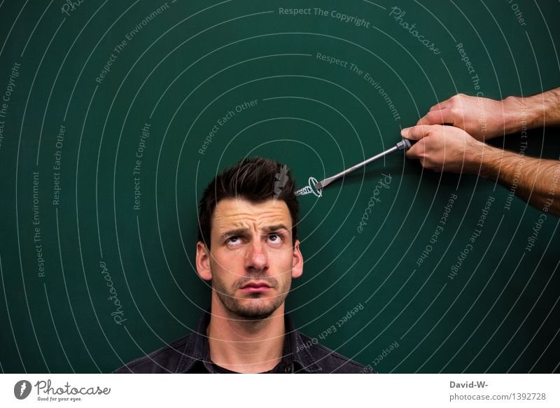 Screw loose? No problem... slack Help assistance helping hand Head asking Looking dishevelled Muddled Man