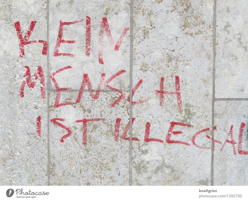 no man is illegal Wall (barrier) Wall (building) Facade Characters Graffiti Communicate Town Brown Red White Emotions Moody Acceptance Loyal Compassion Peaceful