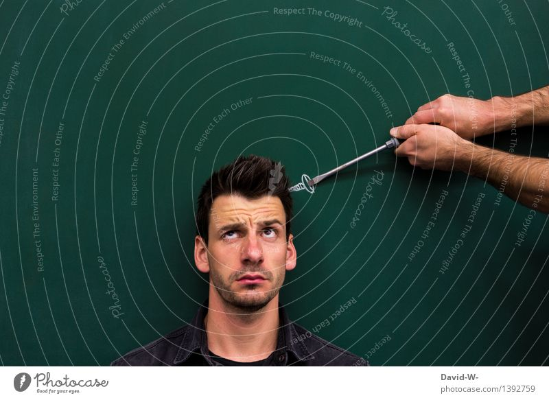 have a screw loose Screw slack screwdriver Head Face Man Manly visualization creatively Creativity original especially differently Idea Stupid Expression