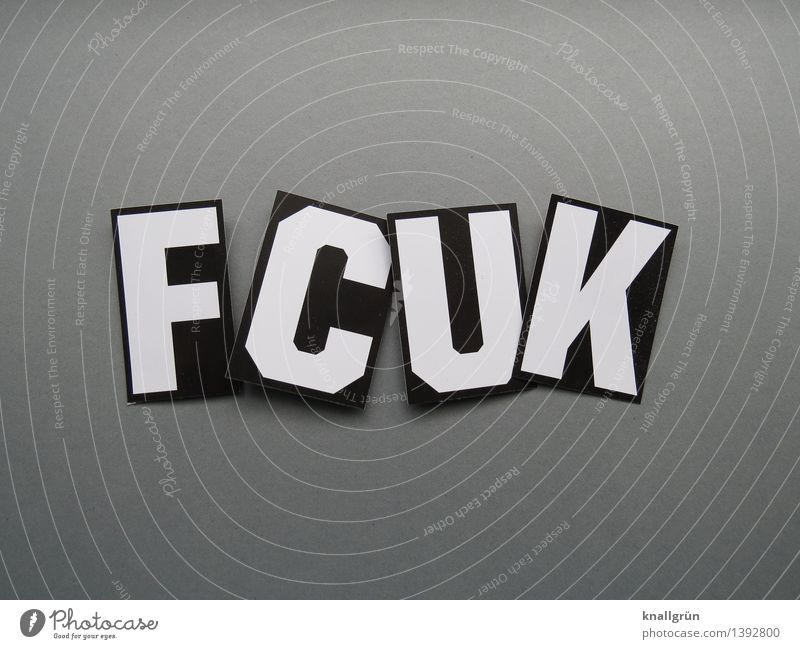 FCUK Characters Signs and labeling Communicate Aggression Cool (slang) Sharp-edged Hip & trendy Rebellious Gray Black White Emotions Moody Anger Aggravation