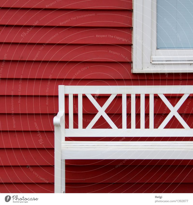 Beautiful White Red Calm House (Residential Structure) Window Wall (building) Architecture Building Wall (barrier) Wood Exceptional Line Idyll Authentic