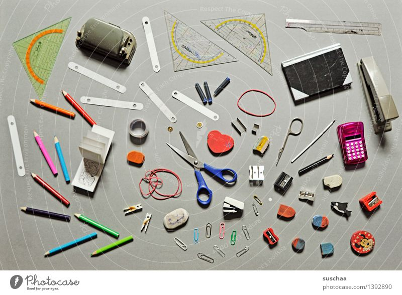even more bureaucratic stuff Super Still Life Office School Scissors Eraser Stationery Hole puncher Ruler Protractor triangle Pencil ink cartridge Notebook