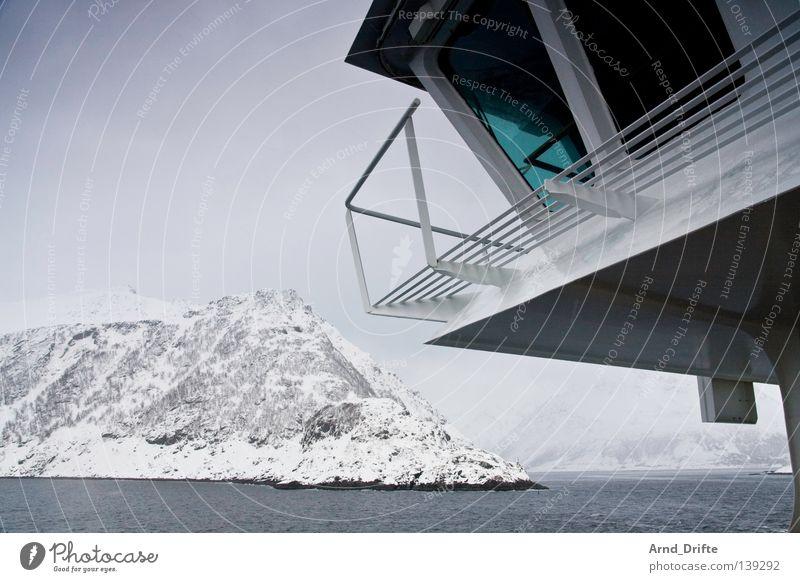 Aye, aye Norway Ferry Cold Cruise Cruise liner Ocean Arctic Ocean Watercraft Lake Waves Clouds Winter Navigation hurtigruten Mountain Bridge Ice Sky