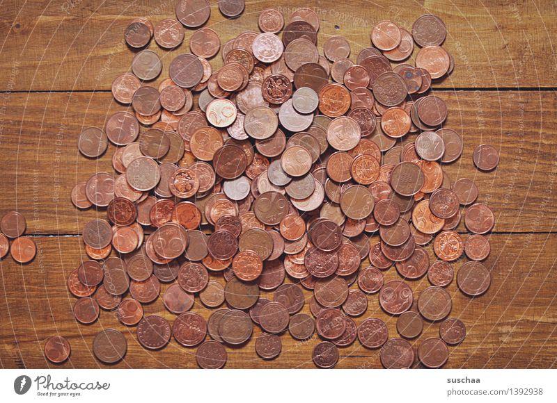 money money money money Money Means of payment Coin German penny Cent Wood Metal Metalware Heap