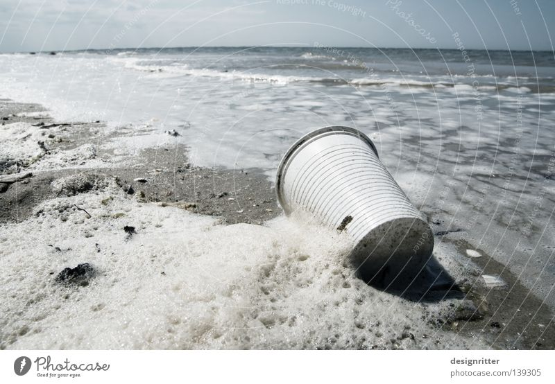 beach bad Lake Ocean Spiekeroog Salty Sea water Foam Surf Beach Vacation & Travel Tourist Trash Society Plastic Recycling bag Mug Plastic cup