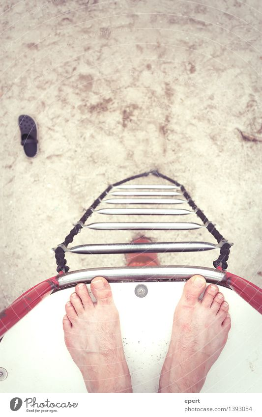 dry diving Freedom Beach Sports High diving Feet Rope ladder Stand Tall Above Crazy Experience Perspective Edge Colour photo Exterior shot Bird's-eye view