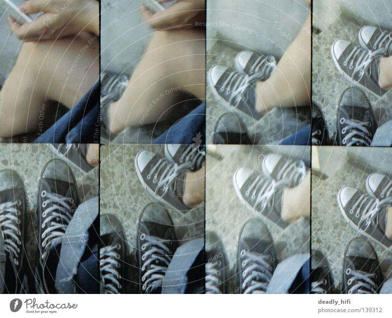 feet Chucks Bonn Bla Footwear Gray Black White Old-school Lomography octomato Stairs Feet Legs naked leg Jeans Punk chuck taylor