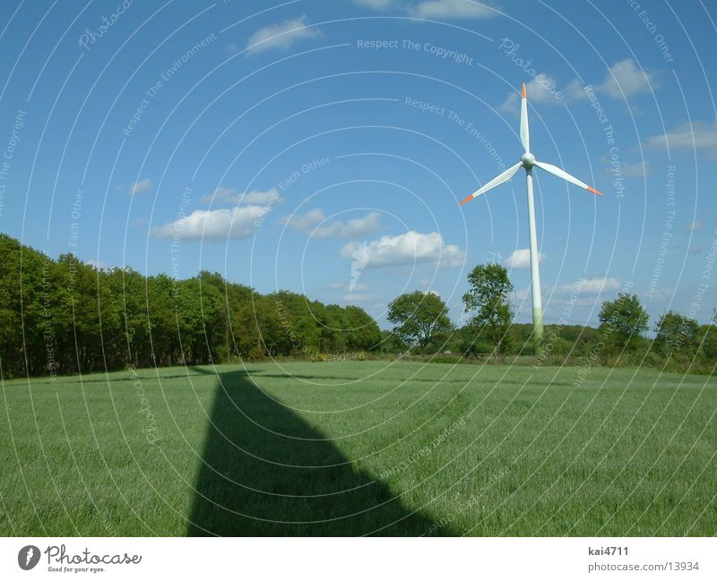windmill Ecological Electricity Electrical equipment Technology Wind energy plant Energy industry Shadow