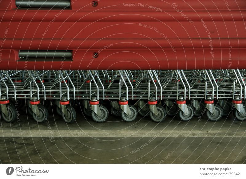 Shopping trolley in line shopping centre Store premises Shopping Trolley Colour photo weigh Logistics Shopping basket Parking garage Interior shot Detail