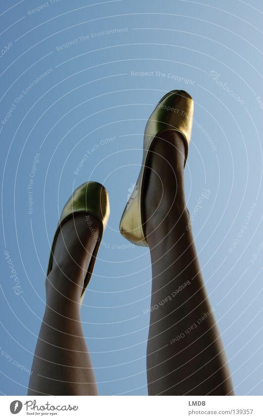 Woman Beautiful Sky Dream Feet Footwear Legs Dance Going Gold Walking Tall Perspective Thin Luxury