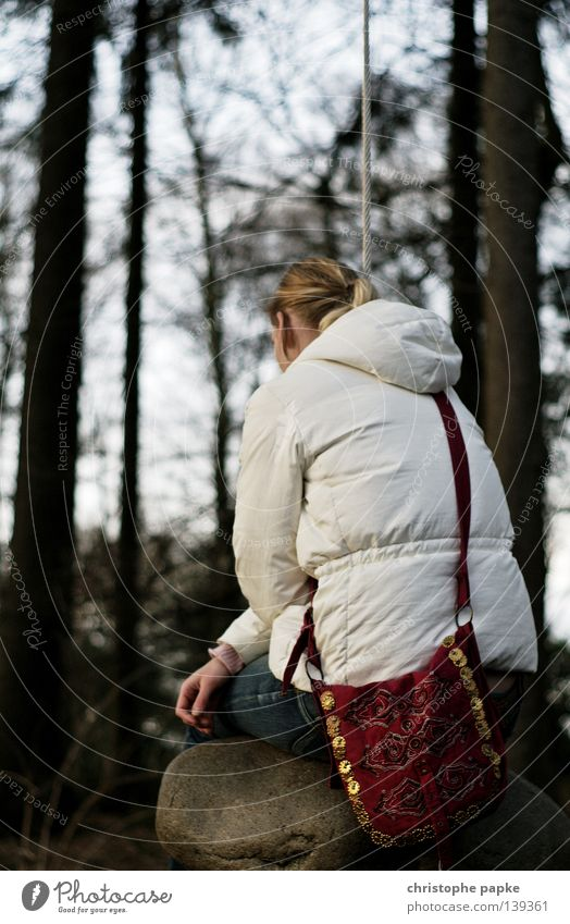 Woman Relaxation Loneliness Forest Sadness Think Garden Stone Park Contentment Blonde Sit Back Rope Grief Serene